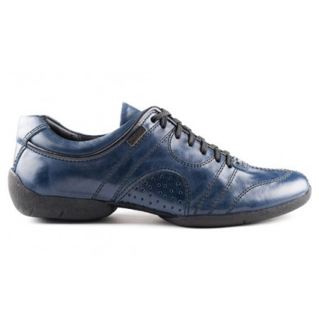Blue jeans leather sneakers