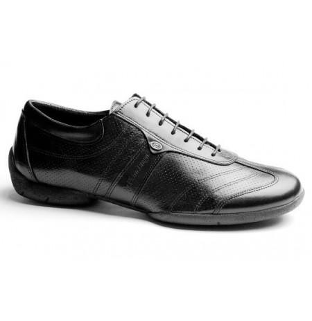 Black leather man sneakers
