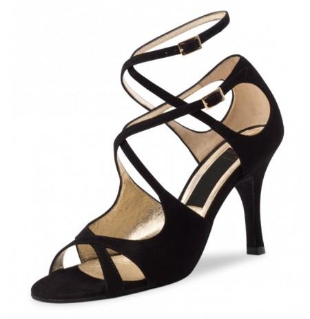 Black suede leather dancing shoe