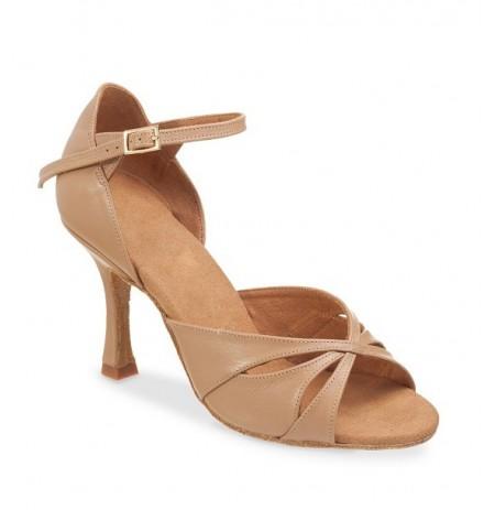 Elegant beige leather comfort heel shoe
