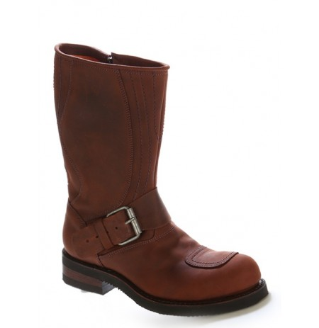 Brown oiled leather bike boots with steel toe