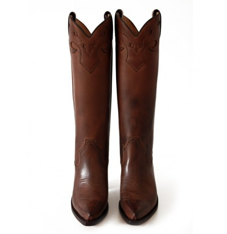 Brown leather high cowboy boots