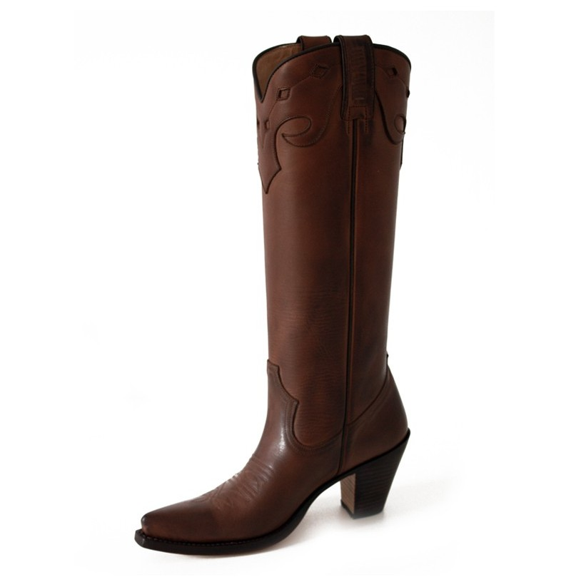 Elegant brown leather high cowboy boots Western leather brown
