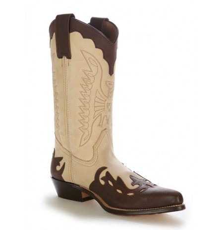 Custom-made beige and brown leather Mexican cowboy boots