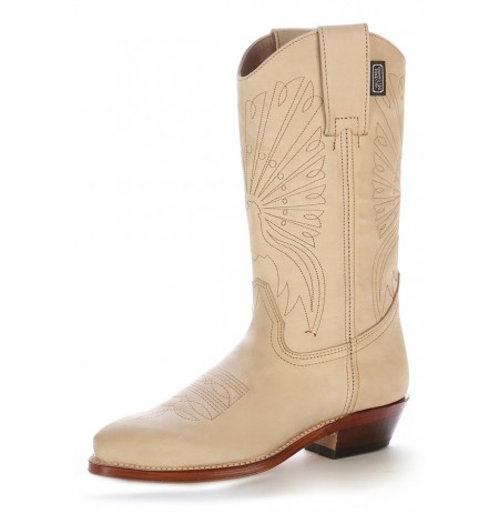 Custom-made beige suede leather Mexican cowboy boots
