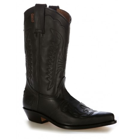 Custom-made black leather Mexican cowboy boots