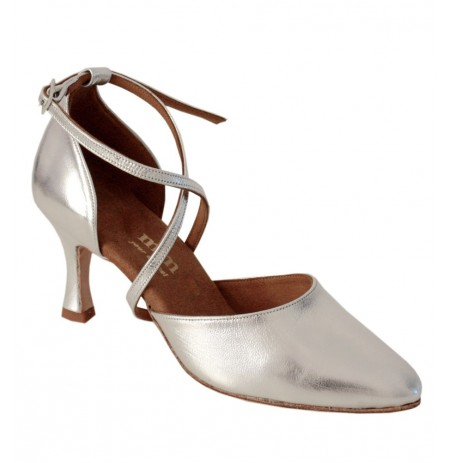 Silver leather comfort shoe