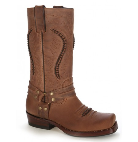 Brown Leather harness cowboy boots