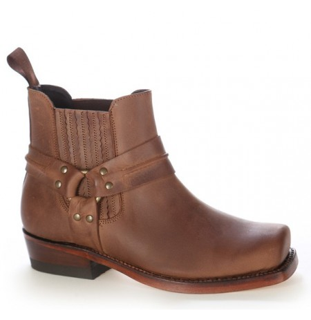 Brown leather haness biker ankle boots