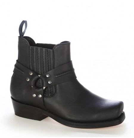 Black harness ankle boots