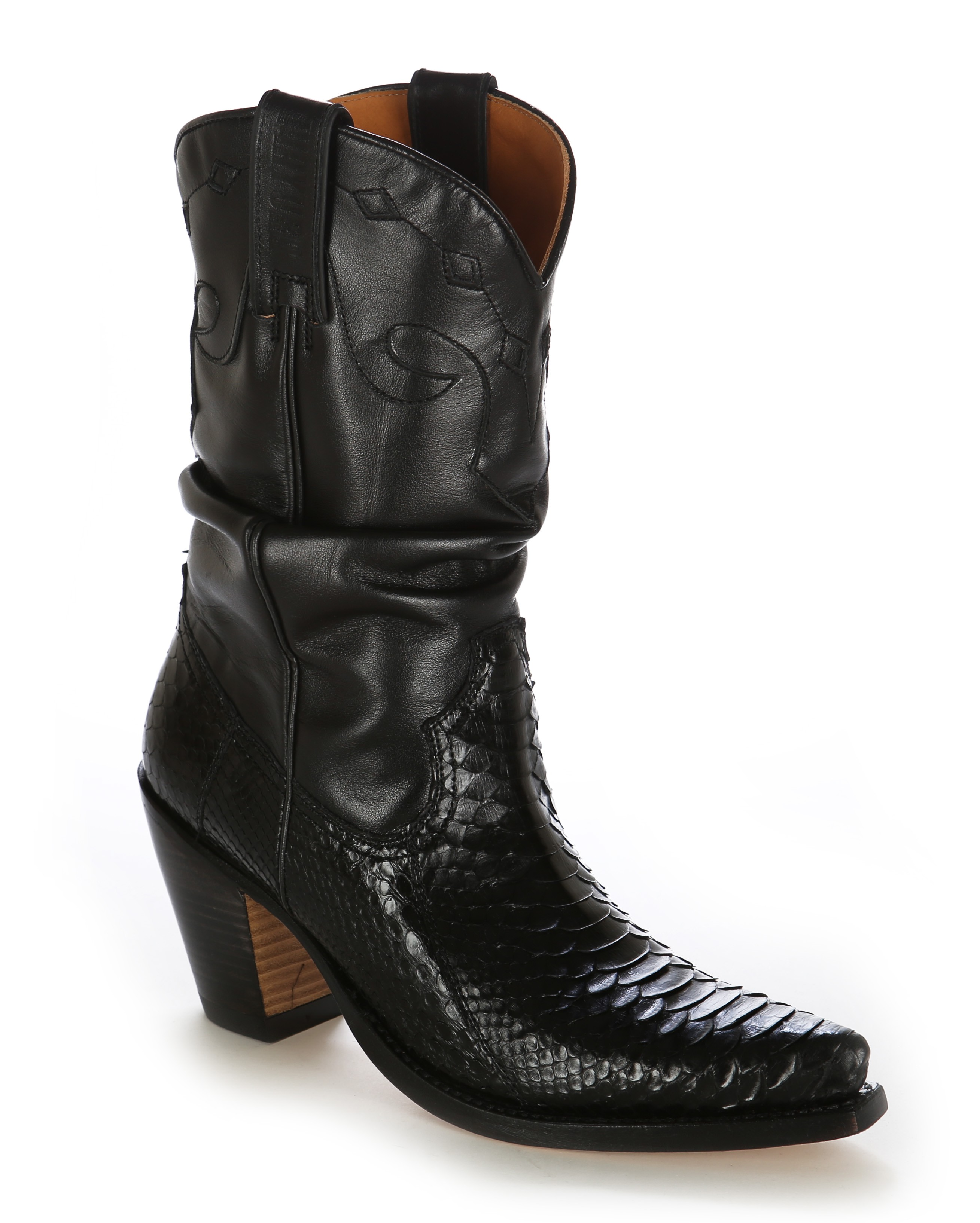 Black and white snakeskin cowboy boots Real snakeskin leather boots