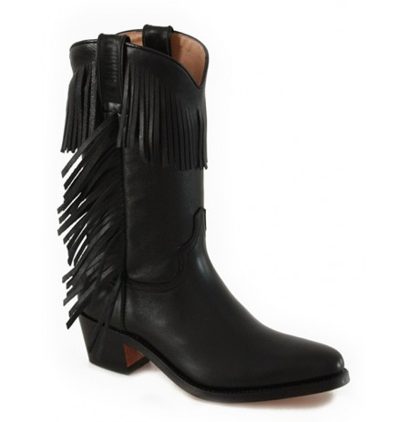 Black leather cowboy boots for women with fringes