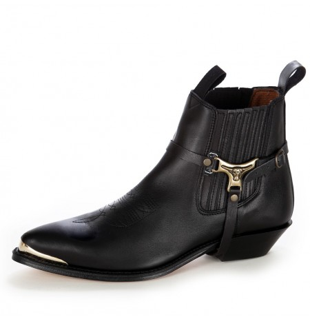 Black harness ankle boots metal tip