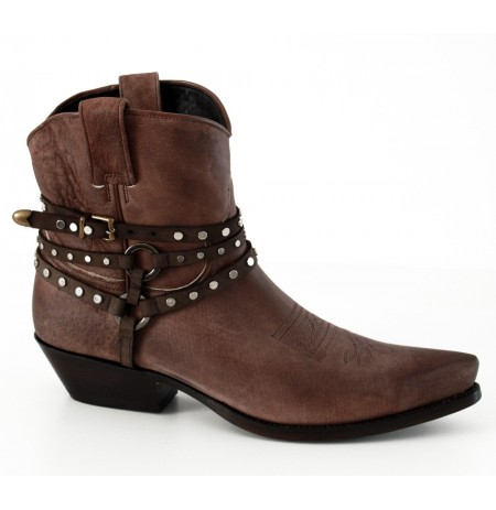Vintage leather cowboy ankle boots