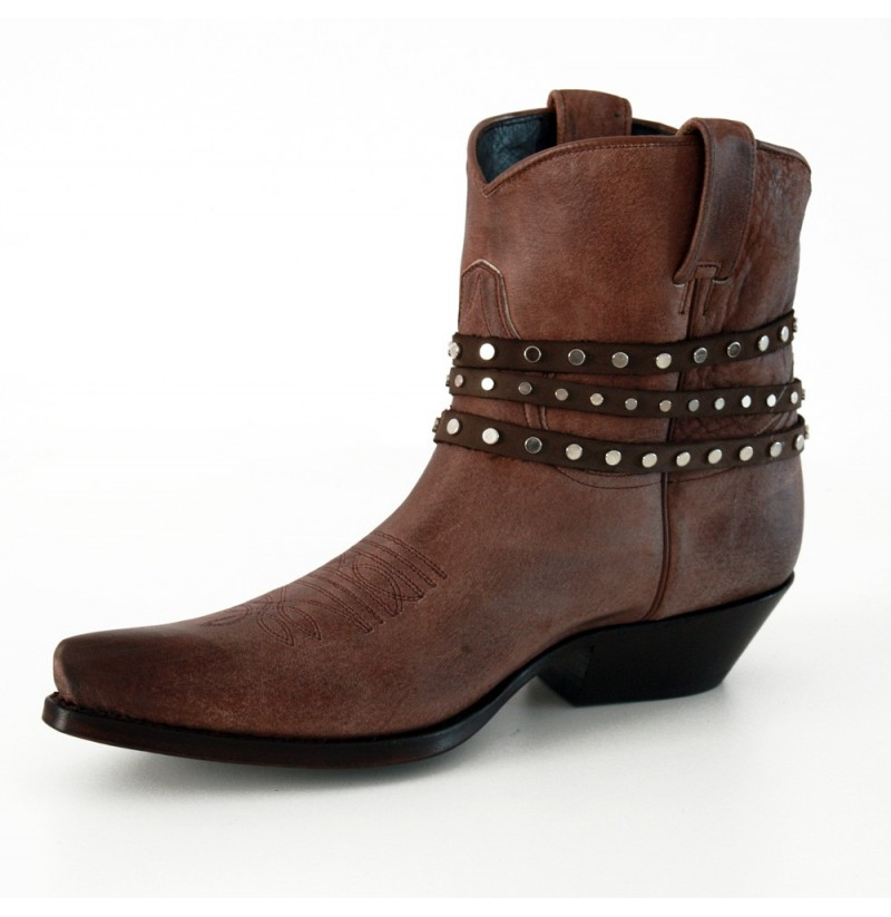 classic brown texan ankle boots with straps brown leather