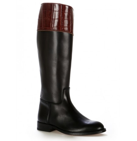 Two-tone leather horse riding boots