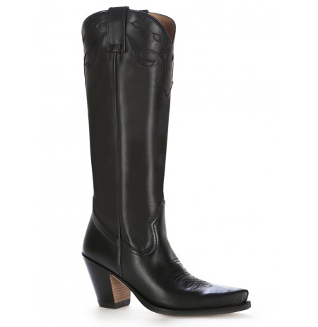 Black leather high heel cowboy boots