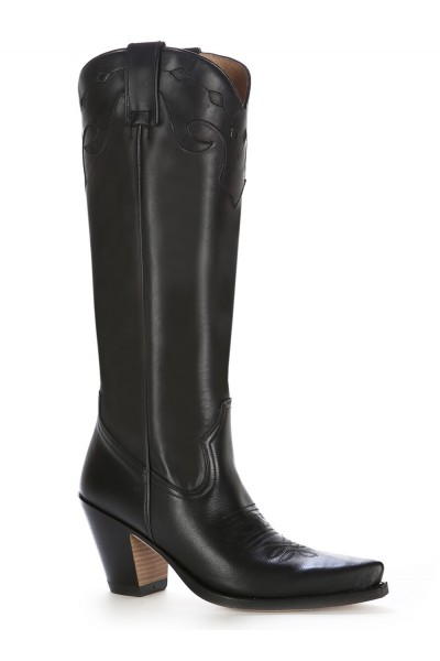 classic black leather high heel cowboy boots luxurious