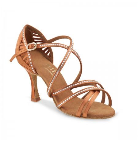 Open toe copper dance heels with rhinestones