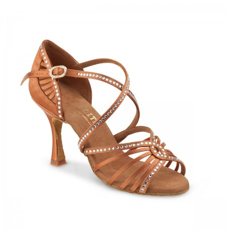Professional satin dance shoes with rhinestones