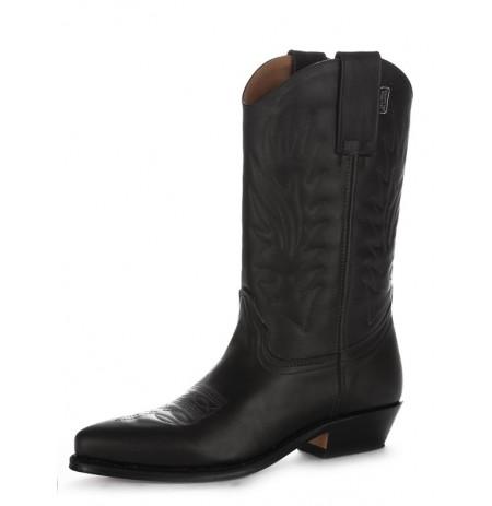 Black leather cowboy boots