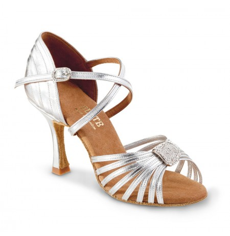 Silver leather bridal heels with ankle straps