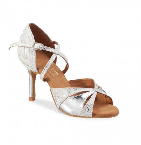 Shiny silver leather comfortable bridal shoes