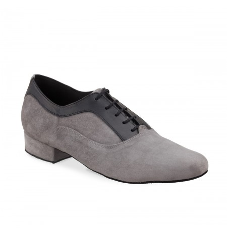 Grey & black leather dancing shoes for men