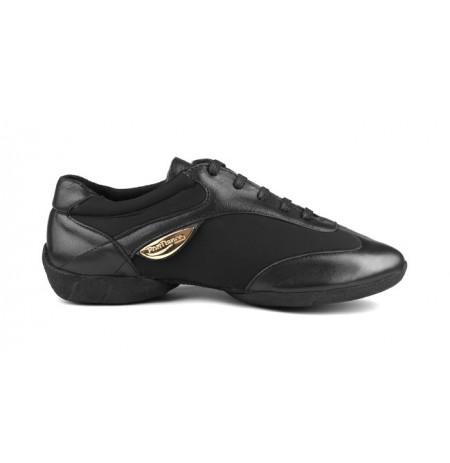 Women's Black leather dance sneakers