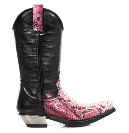 Black and Pink SNAKESKIN leather cowboy boots