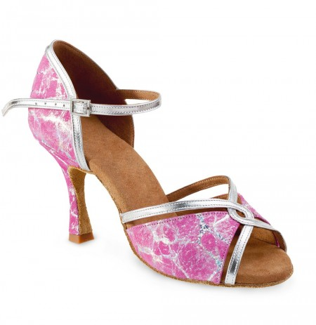 Pink leather evening heels