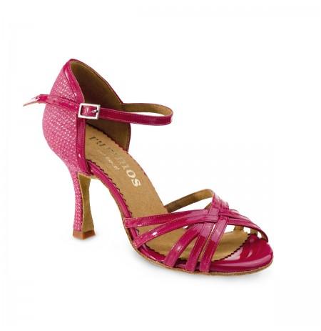 Elegant pink patent leather sandal style heels