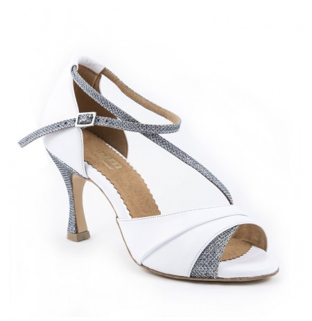 White & silver sparkly leather bridal shoes