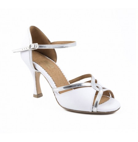 Elegant white and silver bride heels