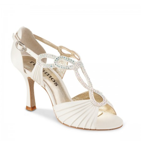 Ivory satin sandal heels with little crystals