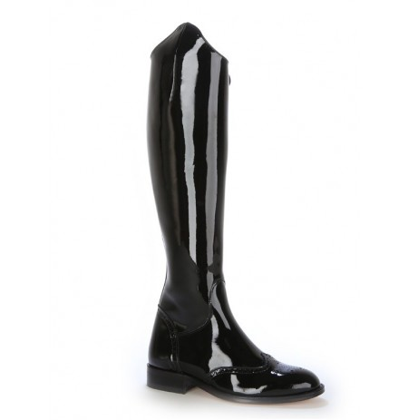 Black patent leather high boots for women