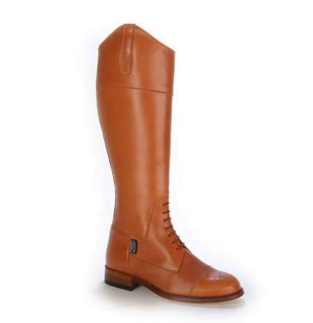 Camel leather brogue style boots with laces