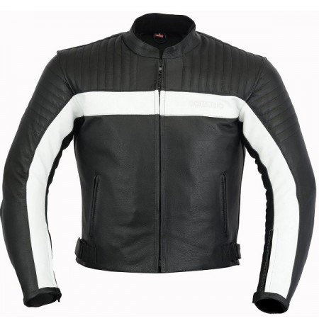 Black and white custom made leather bike jacket with protection armour