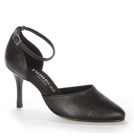 Elegant black leather comfort shoes