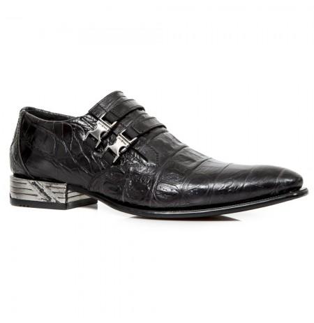 Black crocodile formal shoes for men