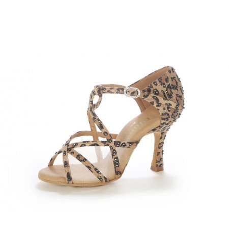Leopard print ballroom dance shoes with rhinestones