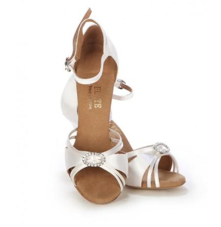 Elegant white satin open toe wedding heels