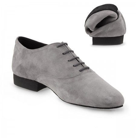 Flexible grey suede dance shoes for men with laces