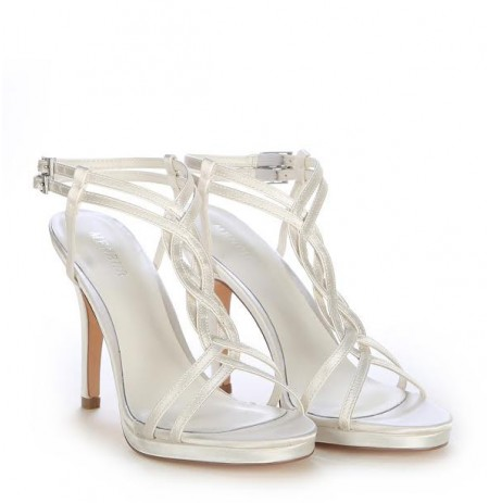 Elegant satin white bridal heels