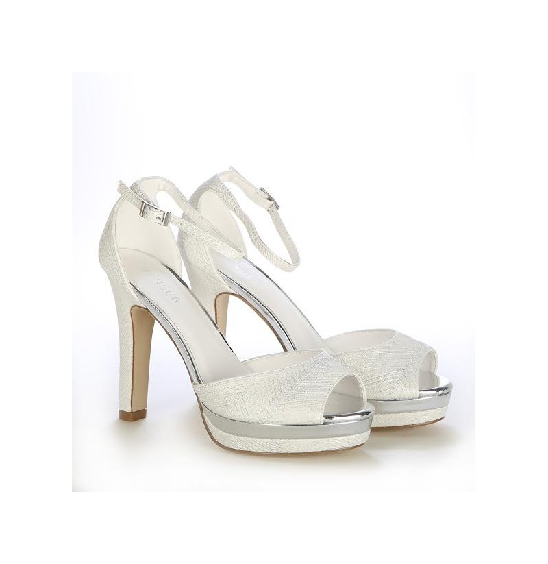 White Bridal Shoes With Str Heel