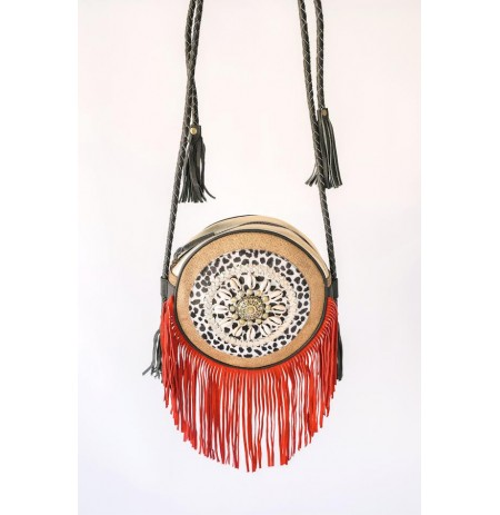 PITI CUITI Gold and coral leather shoulder bag with tassels