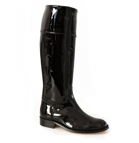 Made to measure shiny black patent leather riding boots