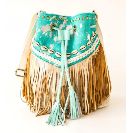 Western leather crossbody bag with fringes