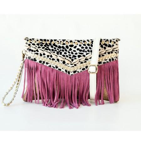 Leopard print leather wrislet purple handbag with tassels