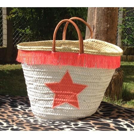 Straw beach bag coral color gloss star